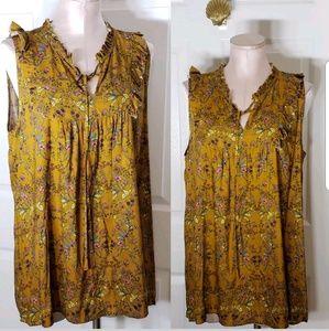 NWT Pleione Mustard Floral Print Short Sleeve Tank